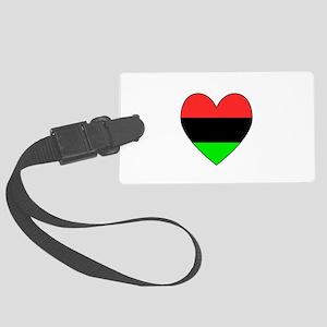 African American Flag Heart Black Border Large Lug