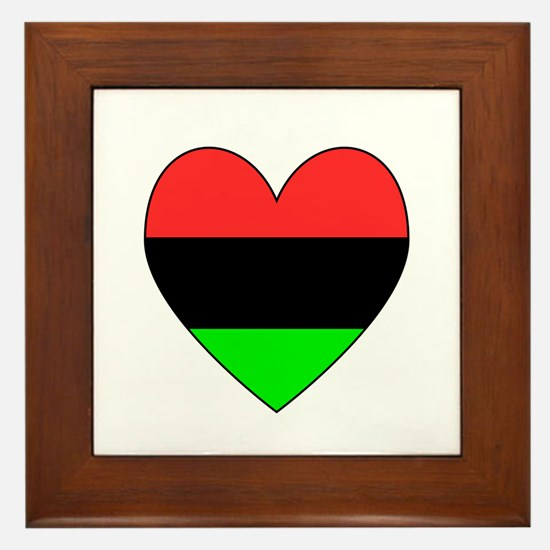 African American Flag Heart Black Border Framed Ti