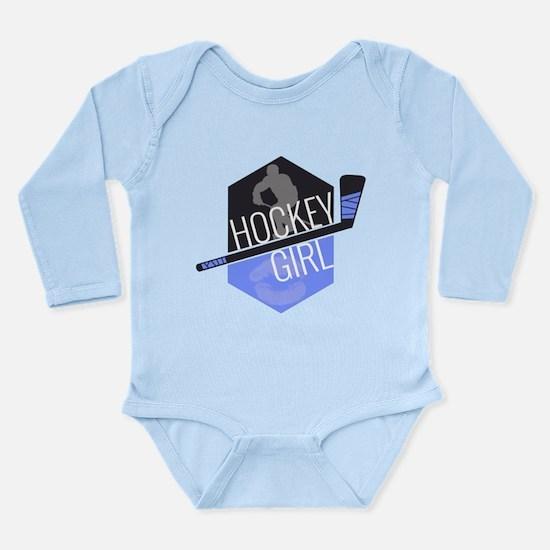 Hockey Girl (Blue) Long Sleeve Infant Bodysuit
