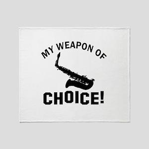 Saxophone Weapon Of Choice Throw Blanket
