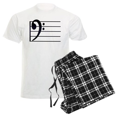 BASS CLEF STAFF- BLACK Men's Light Pajamas