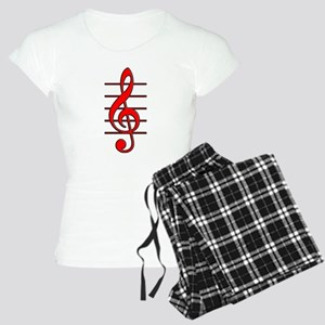 TREBLE CLEF- RED copy Women's Light Pajamas