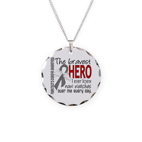 Bravest Hero I Knew Parkinsons Necklace Circle Cha