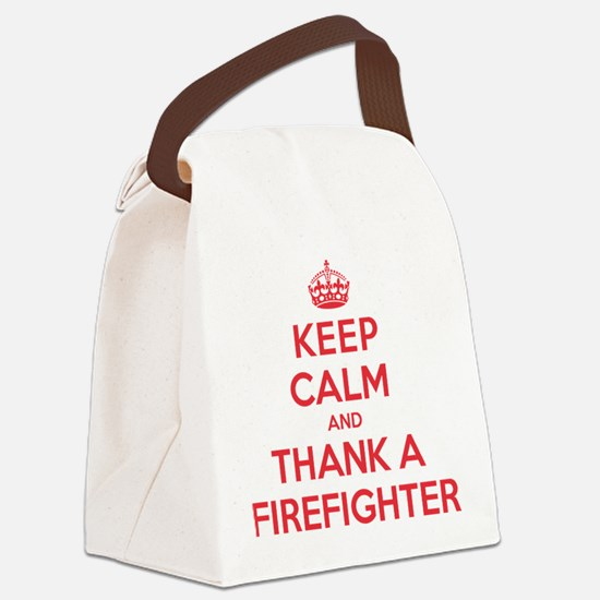 K C Thank Firefighter Canvas Lunch Bag