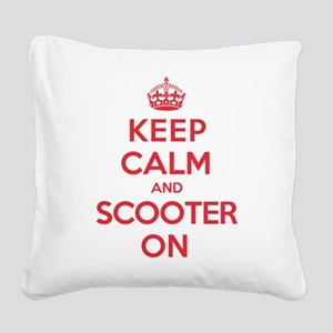 Keep Calm Scooter Square Canvas Pillow
