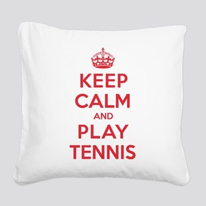 K C Play Tennis Square Canvas Pillow