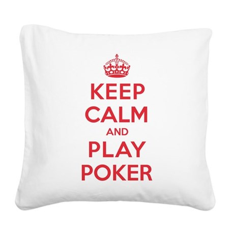 K C Play Poker Square Canvas Pillow