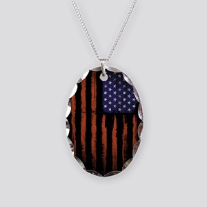 American flag Grunge Black Necklace Oval Charm