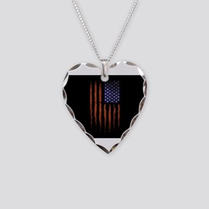 American flag Grunge Black Necklace Heart Charm