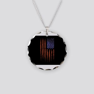 American flag Grunge Black Necklace Circle Charm