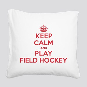 K C Play Field Hockey Square Canvas Pillow