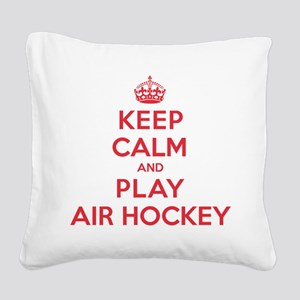 K C Play Air Hockey Square Canvas Pillow