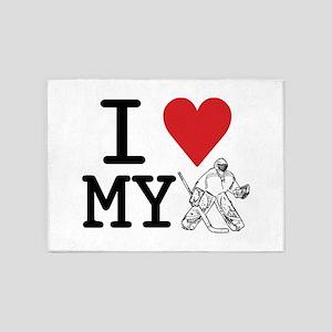 I Love My Goalie (hockey) 5'x7'Area Rug