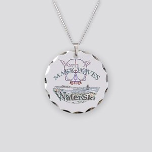 Born to water ski Necklace Circle Charm