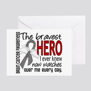 Bravest Hero I Knew Brain Cancer Greeting Card