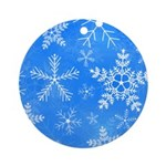 Blue and White Snowflake Pattern Ornament (Round)