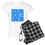 Blue and White Snowflake Pattern Women's Light Paj