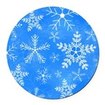 Blue and White Snowflake Pattern Round Car Magnet