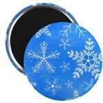 Blue and White Snowflake Pattern Magnet