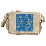 Blue and White Snowflake Pattern Messenger Bag