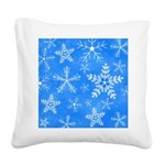 Blue and White Snowflake Pattern Square Canvas Pil