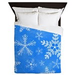 Blue and White Snowflake Pattern Queen Duvet