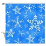 Blue and White Snowflake Pattern Shower Curtain