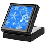 Blue and White Snowflake Pattern Keepsake Box