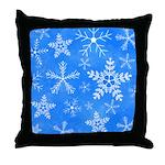 Blue and White Snowflake Pattern Throw Pillow