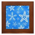 Blue and White Snowflake Pattern Framed Tile
