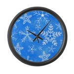 Blue and White Snowflake Pattern Large Wall Clock