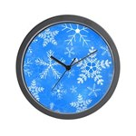 Blue and White Snowflake Pattern Wall Clock
