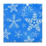 Blue and White Snowflake Pattern Tile Coaster