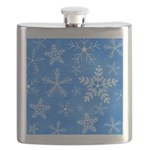 Blue and White Snowflake Pattern Flask