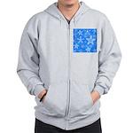 Blue and White Snowflake Pattern Zip Hoodie