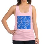 Blue and White Snowflake Pattern Racerback Tank To