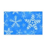 Blue and White Snowflake Pattern 20x12 Wall Decal