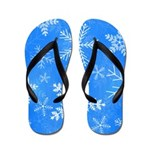 Blue and White Snowflake Pattern Flip Flops