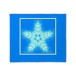 Blue and White Star Snowflake Throw Blanket