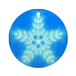 Blue and White Star Snowflake Ornament (Round)