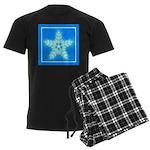 Blue and White Star Snowflake Men's Dark Pajamas