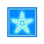 Blue and White Star Snowflake Square Sticker 3
