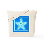 Blue and White Star Snowflake Tote Bag