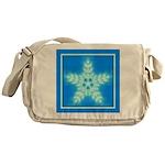 Blue and White Star Snowflake Messenger Bag