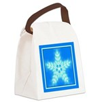 Blue and White Star Snowflake Canvas Lunch Bag