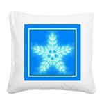 Blue and White Star Snowflake Square Canvas Pillow