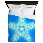 Blue and White Star Snowflake Queen Duvet
