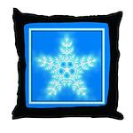 Blue and White Star Snowflake Throw Pillow