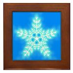 Blue and White Star Snowflake Framed Tile