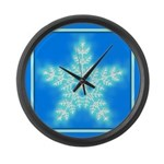 Blue and White Star Snowflake Large Wall Clock